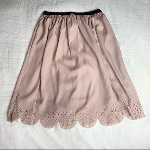 Mauve scallop detailed A line skirt